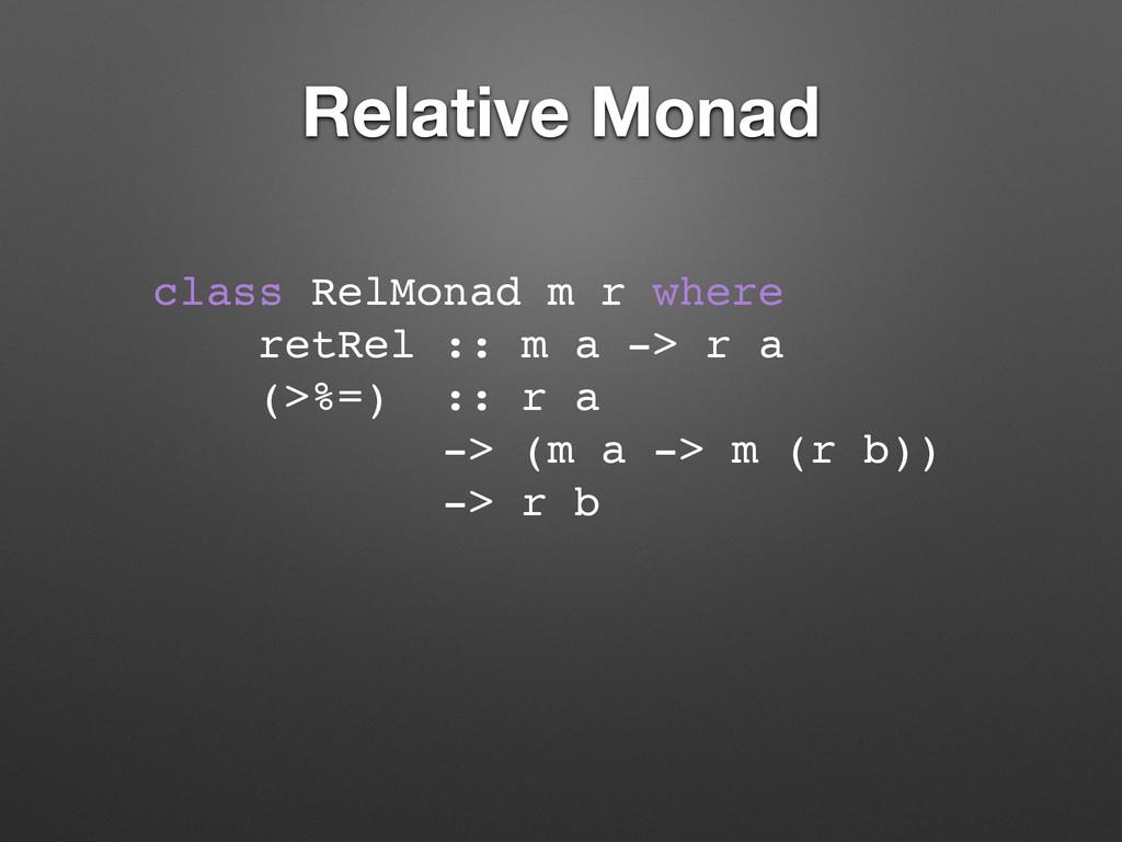 Relative Monad class RelMonad m r where retRel ...