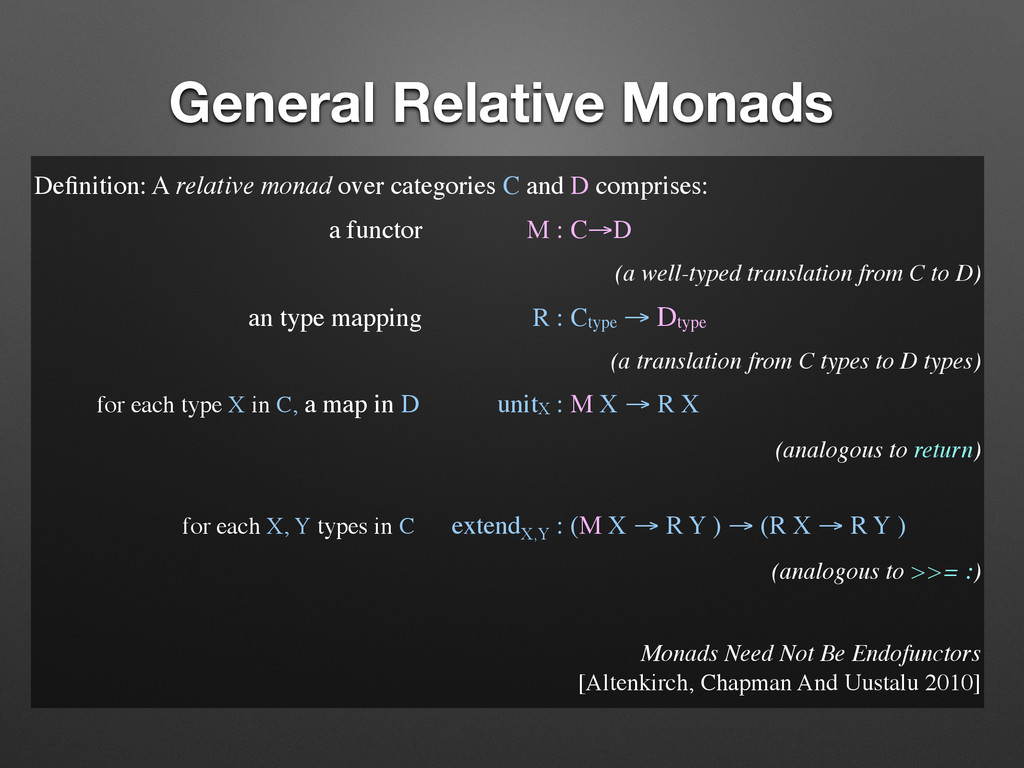 General Relative Monads Definition: A relative m...