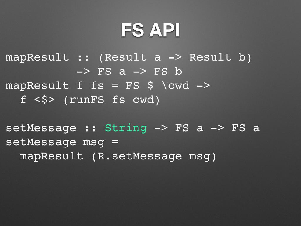 FS API mapResult :: (Result a -> Result b) -> F...