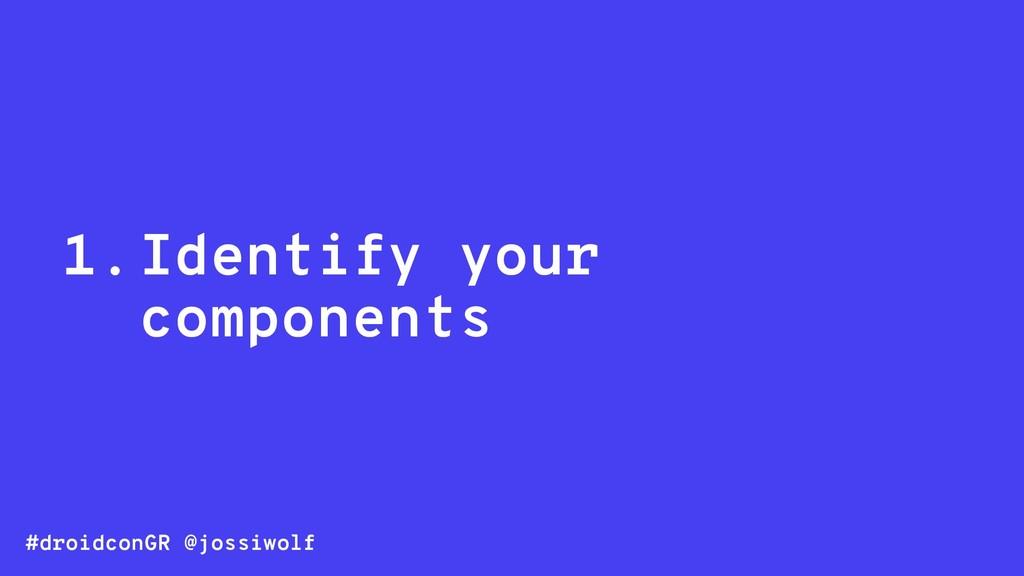 #droidconGR @jossiwolf 1.Identify your componen...