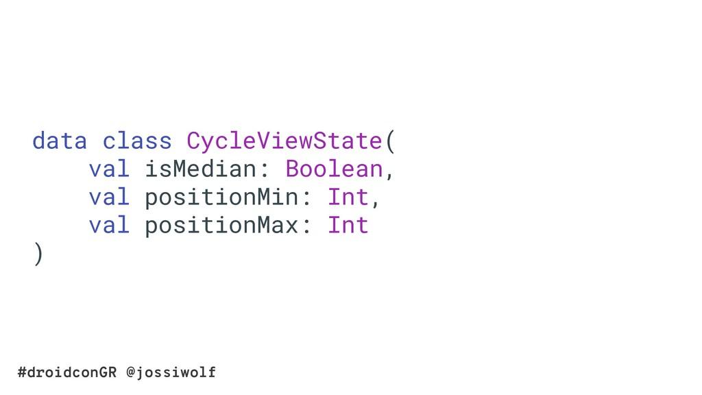 #droidconGR @jossiwolf data class CycleViewStat...