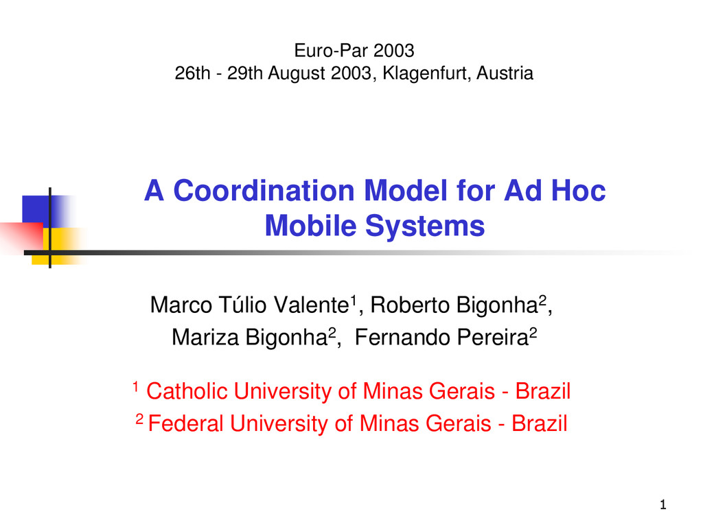 1 A Coordination Model for Ad Hoc Mobile System...