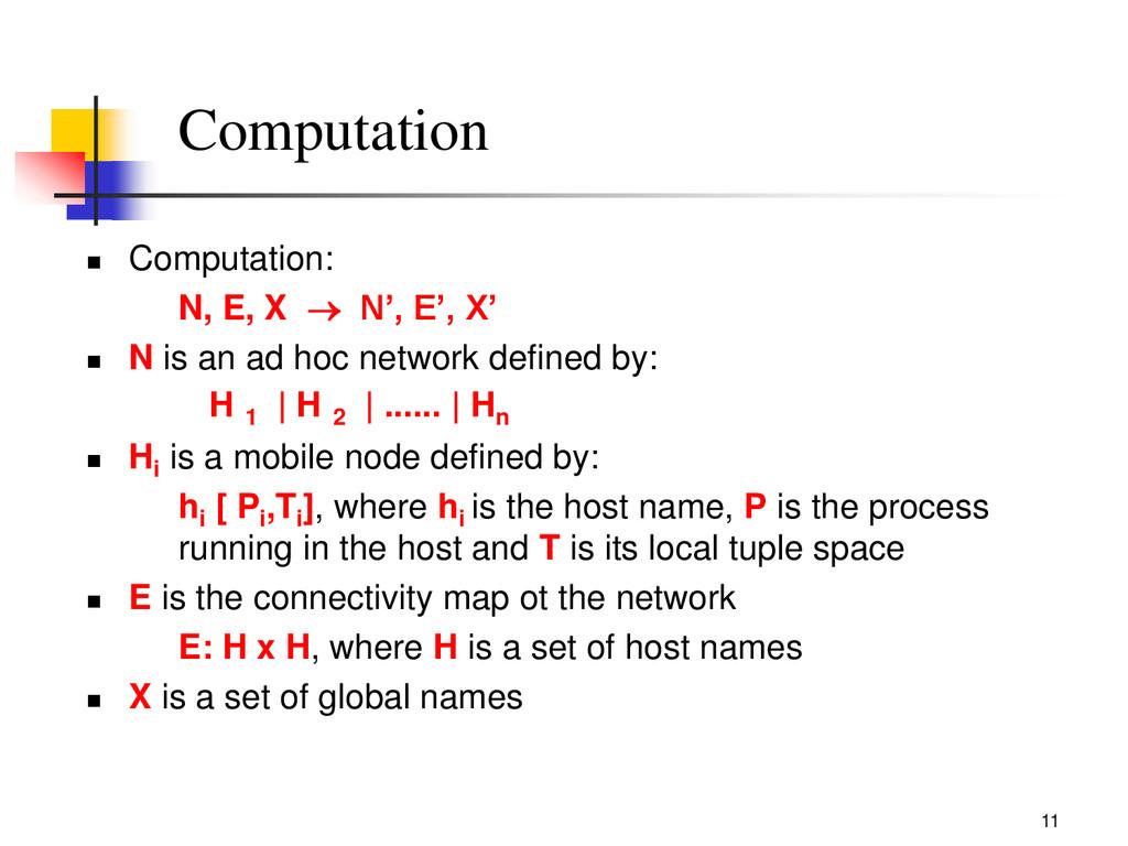 11 Computation  Computation: N, E, X  N', E',...