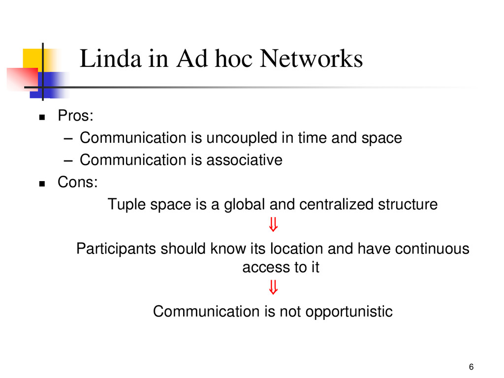 6 Linda in Ad hoc Networks  Pros: – Communicat...