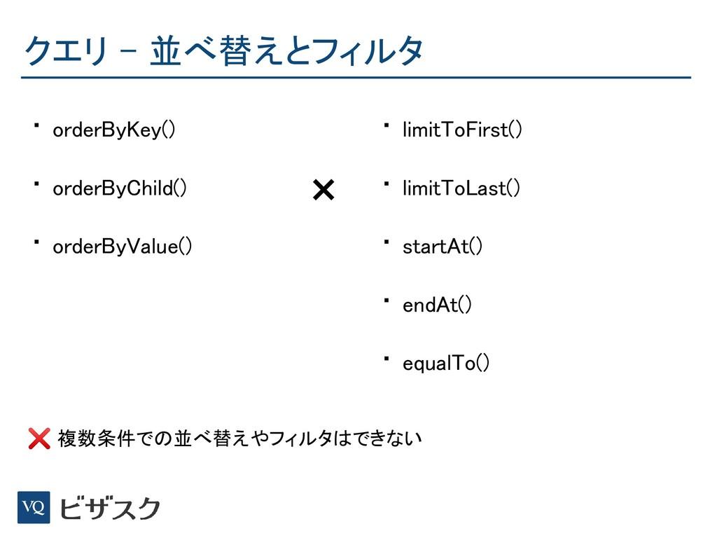 クエリ - 並べ替えとフィルタ • orderByKey() • orderByChild(...