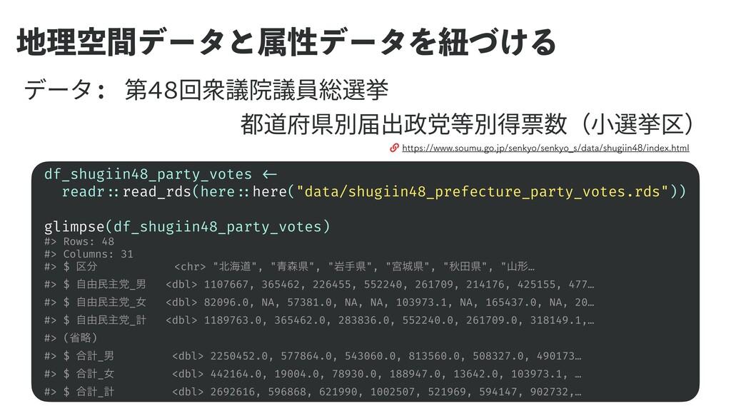 ཧۭؒσʔλͱଐੑσʔλΛඥ͚ͮΔ df_shugiin48_party_votes <- ...