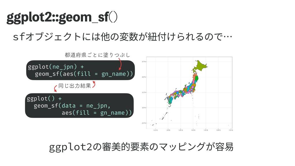 ಉ͡ग़ྗ݁Ռ HHQMPUHFPN@TG   ggplot() +   geom_sf(...