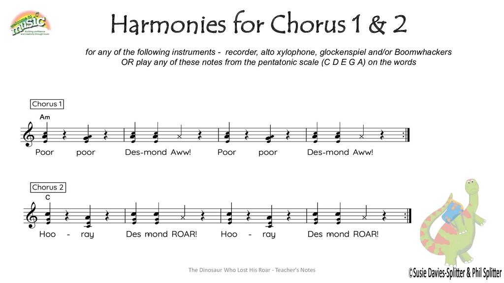 Harmonies for Chorus 1 & 2 for any of the follo...