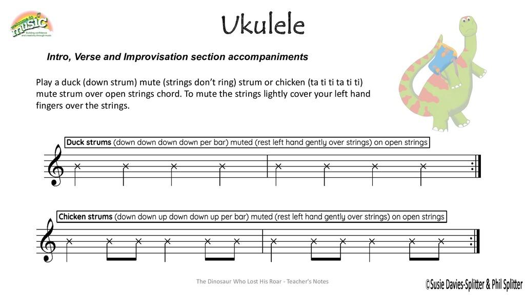 Ukulele Play a duck (down strum) mute (strings ...