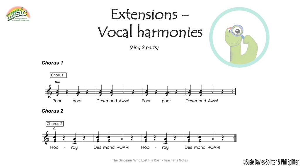 Extensions – Vocal harmonies The Dinosaur Who L...