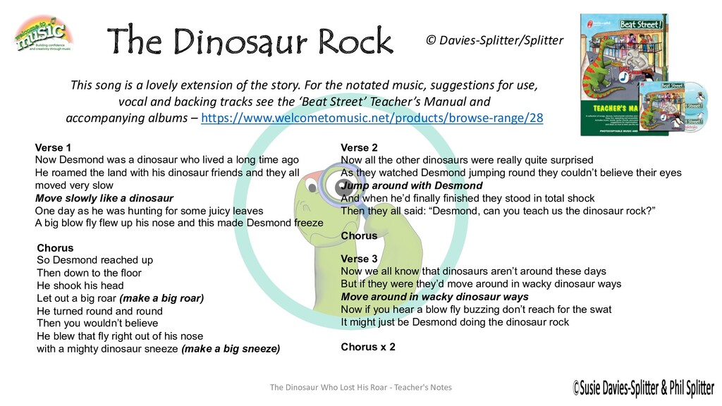 The Dinosaur Who Lost His Roar - Teacher's Note...