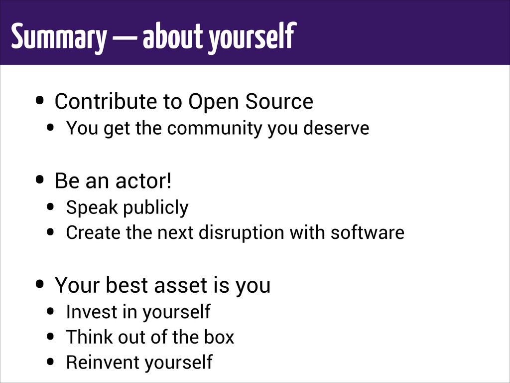 Summary — about yourself • Contribute to Open S...