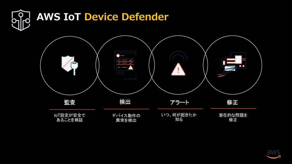 監査 アラート 修正 検出 IoT設定が安全で あることを検証 デバイス動作の 異常を検出 い...
