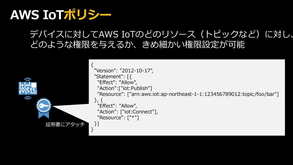 """AWS IoTポリシー { """"Version"""": """"2012-10-17"""", """"Stateme..."""