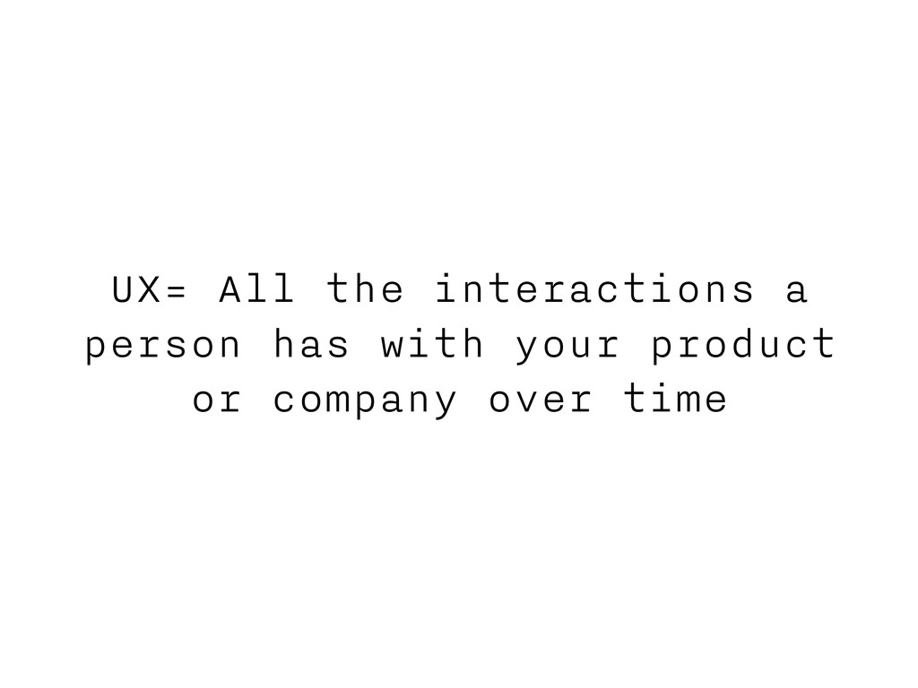 UX= All the interactions a person has with your...