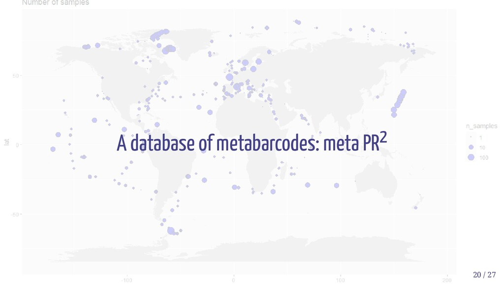 A database of metabarcodes: meta PR2 20 / 27