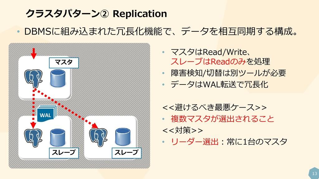 13 クラスタパターン② Replication WAL • マスタはRead/Write、 ...