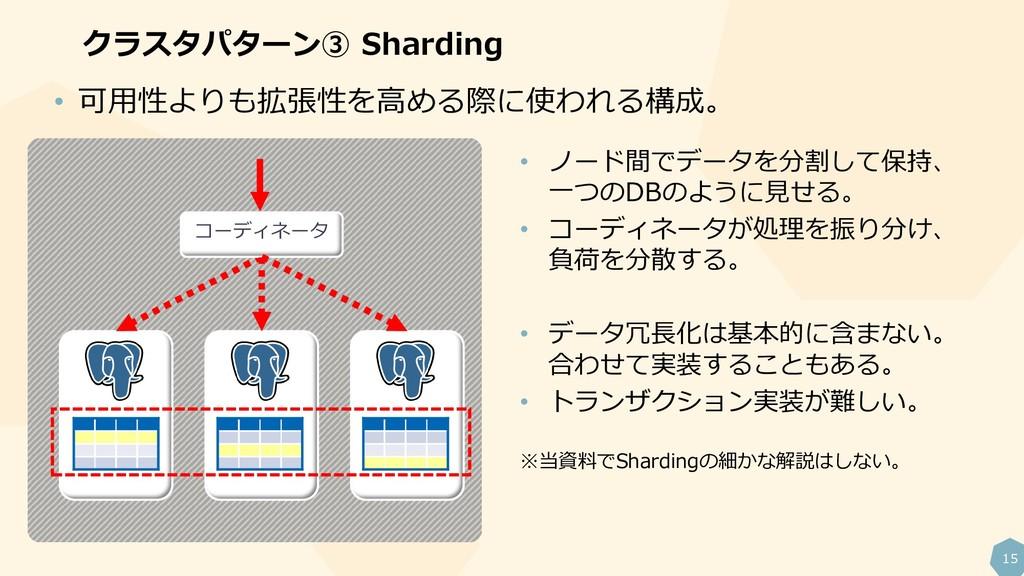 15 クラスタパターン③ Sharding • ノード間でデータを分割して保持、 一つのDBの...