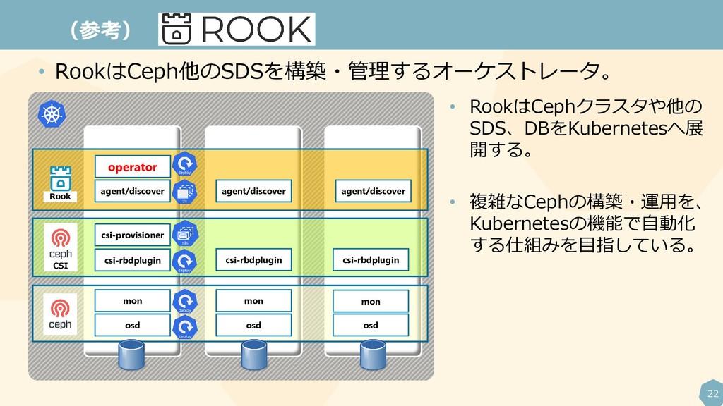 22 (参考) • RookはCeph他のSDSを構築・管理するオーケストレータ。 opera...