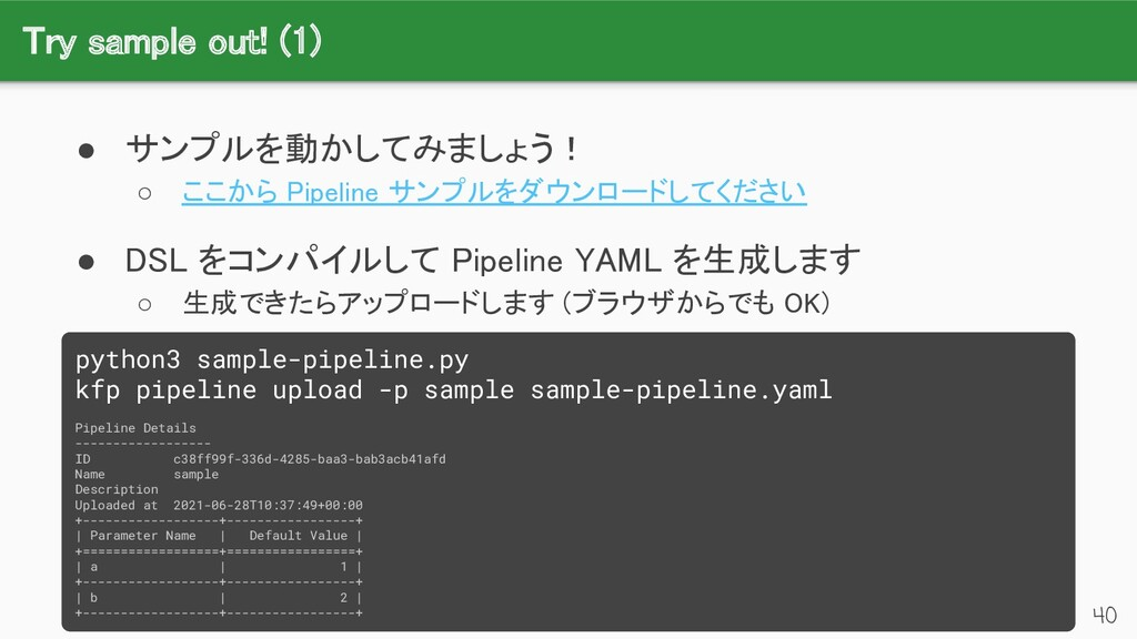 Try sample out! (1) 40 ● サンプルを動かしてみましょう! ○ ここ...