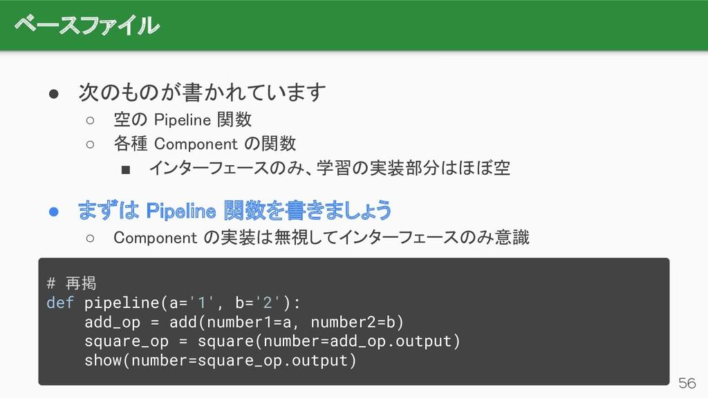 ベースファイル 56 ● 次のものが書かれています ○ 空の Pipeline 関数 ○...