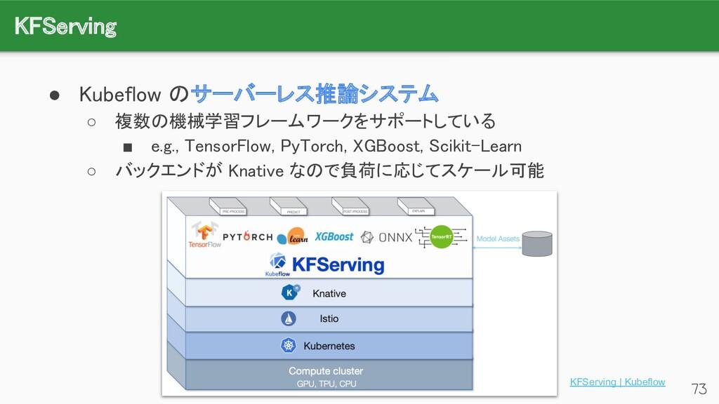 KFServing 73 ● Kubeflow のサーバーレス推論システム ○ 複数の機械...