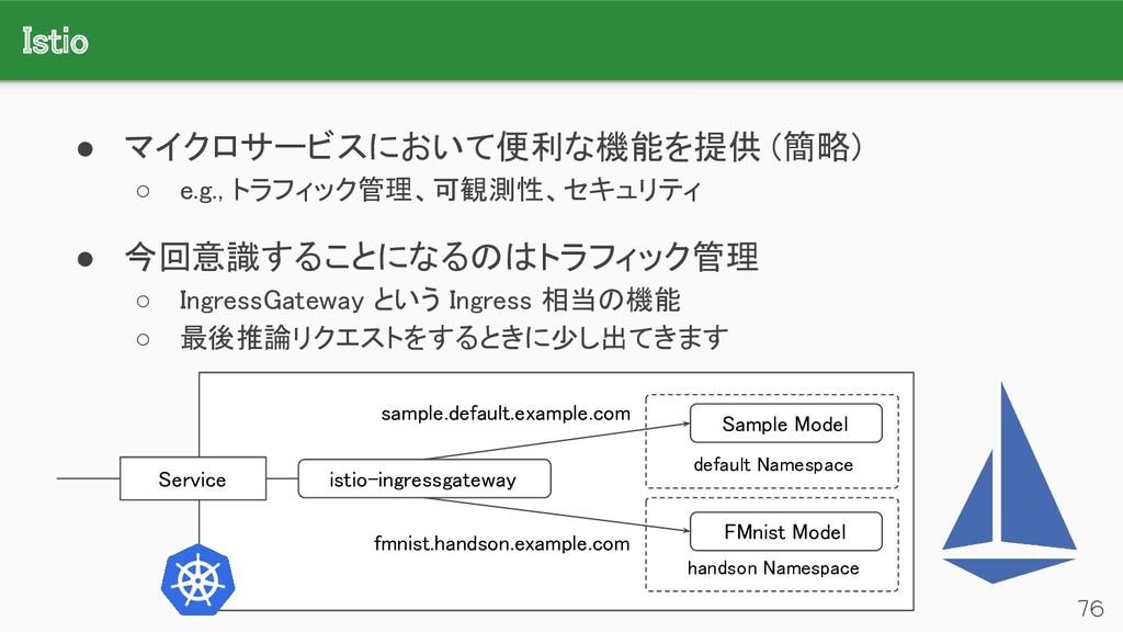 Istio 76 ● マイクロサービスにおいて便利な機能を提供 (簡略) ○ e.g., ...