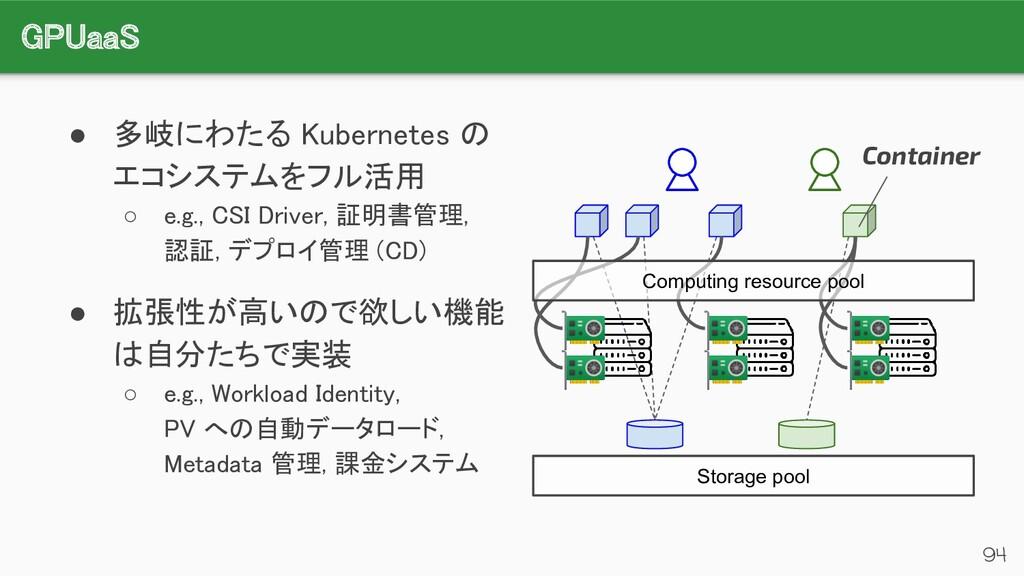 GPUaaS 94 ● 多岐にわたる Kubernetes の エコシステムをフル活用 ...