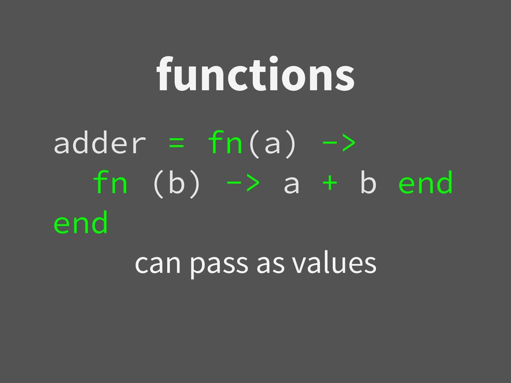 functions adder = fn(a) -> fn (b) -> a + b end ...
