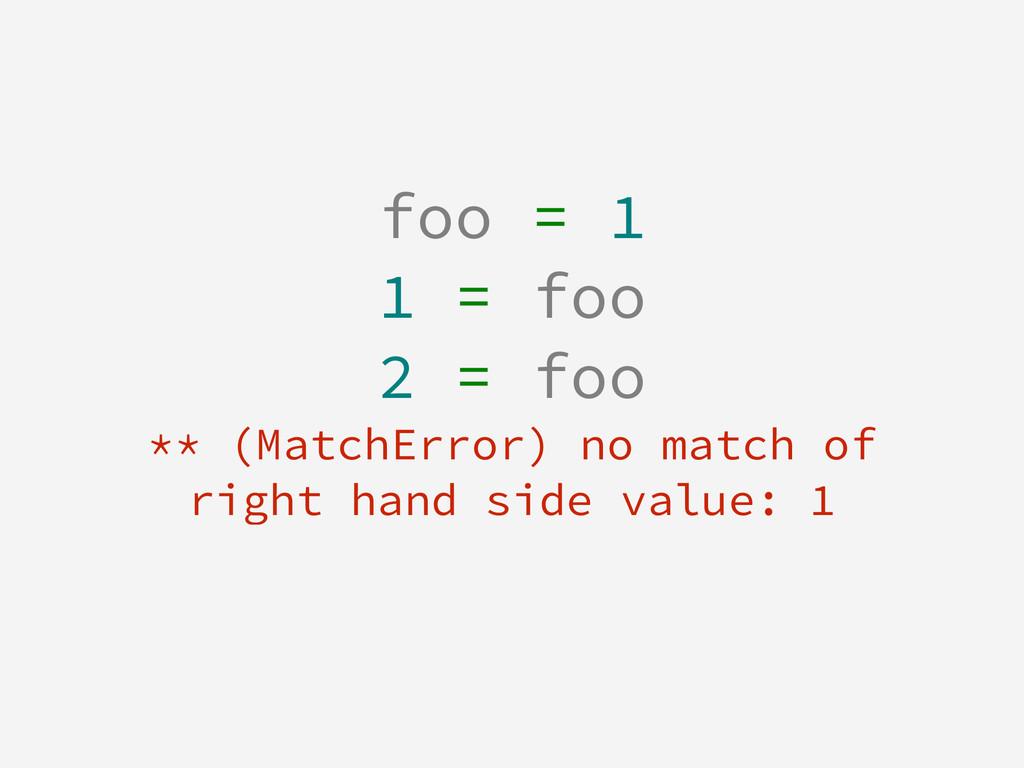 foo = 1 1 = foo 2 = foo ** (MatchError) no matc...