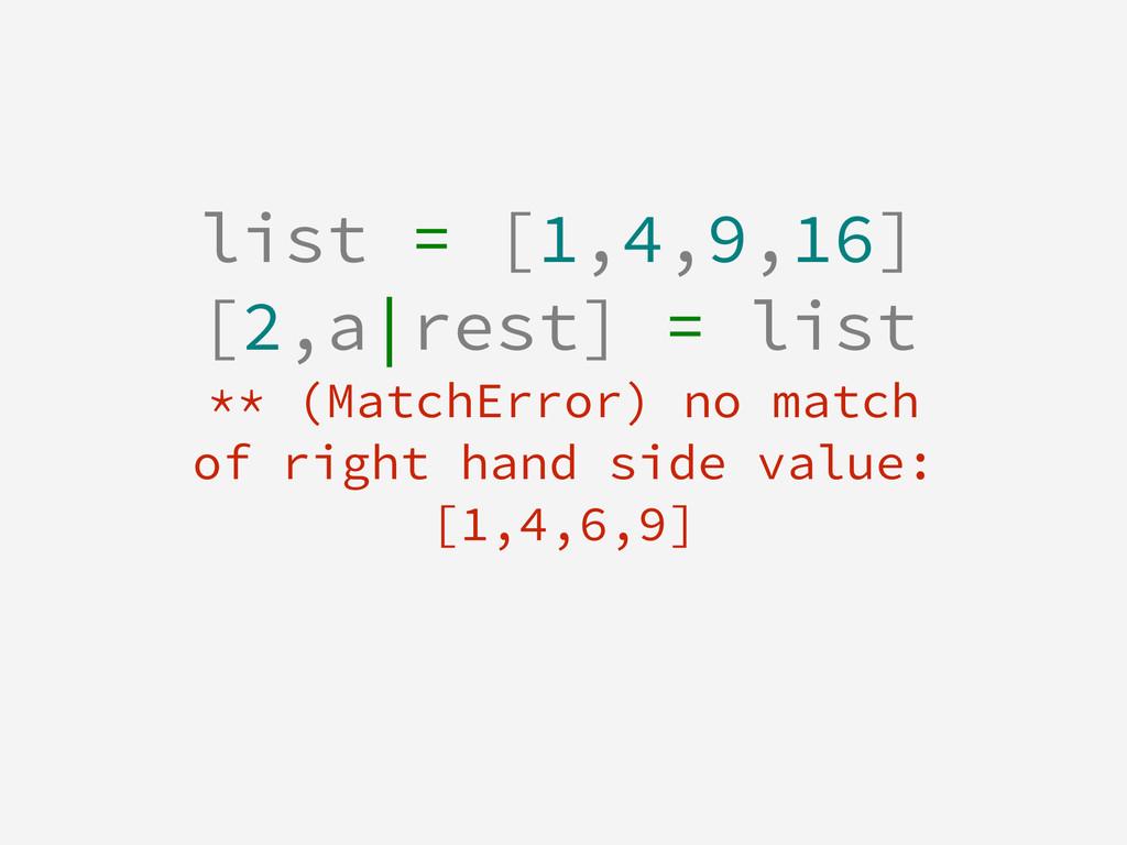 list = [1,4,9,16] [2,a|rest] = list ** (MatchEr...