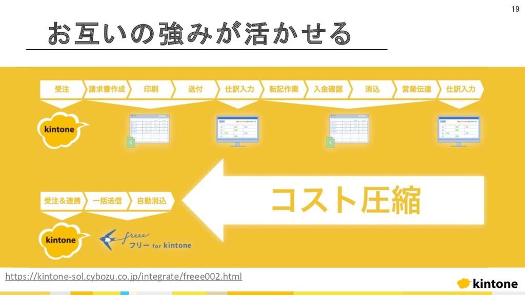 お互いの強みが活かせる 19 https://kintone-sol.cybozu.co.jp...
