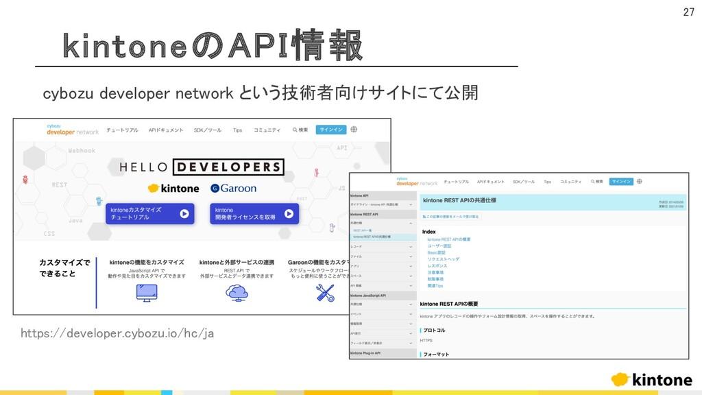 kintoneのAPI情報 27 cybozu developer network という技術...