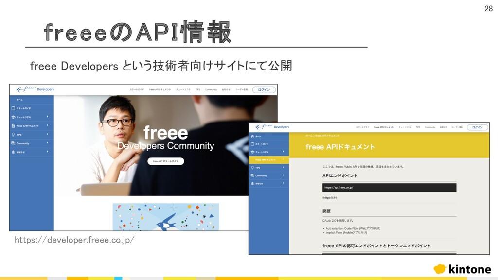 freeeのAPI情報 28 freee Developers という技術者向けサイトにて公開...