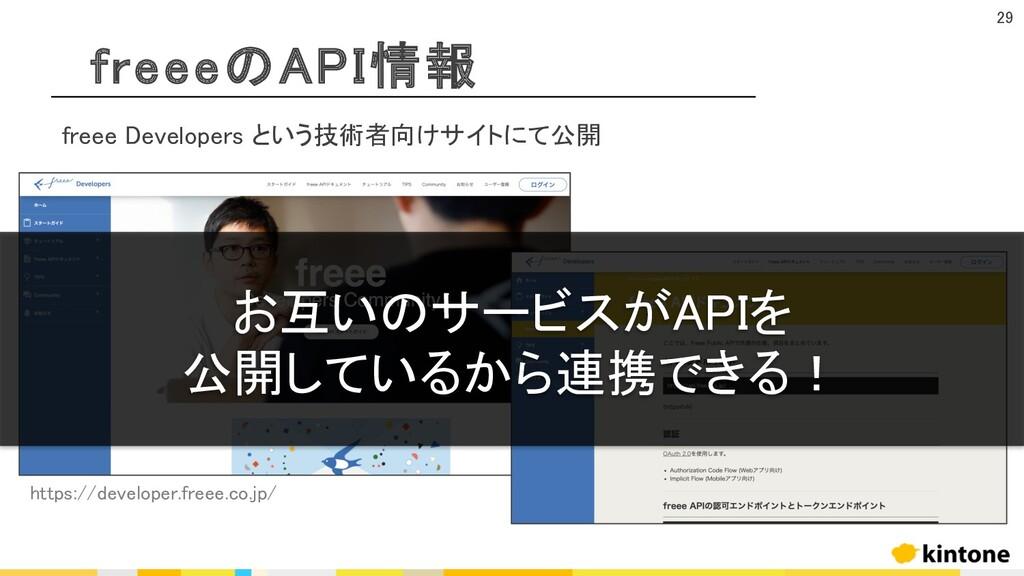 freeeのAPI情報 29 freee Developers という技術者向けサイトにて公開...