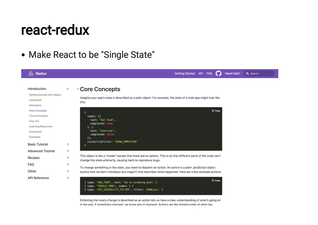"react-redux Make React to be ""Single State"""
