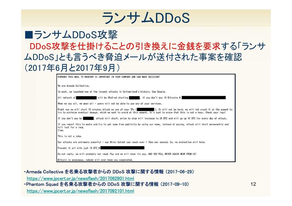 12 ランサムDDoS DDoS攻撃を仕掛けることの引き換えに金銭を要求する「ランサ ムDDo...