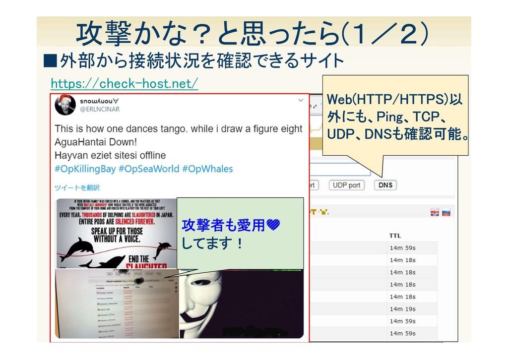 13 攻撃かな?と思ったら(1/2) https://check-host.net/ ■外部か...