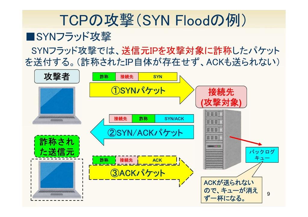 9 TCPの攻撃(SYN Floodの例) ■SYNフラッド攻撃 SYNフラッド攻撃では、送信...
