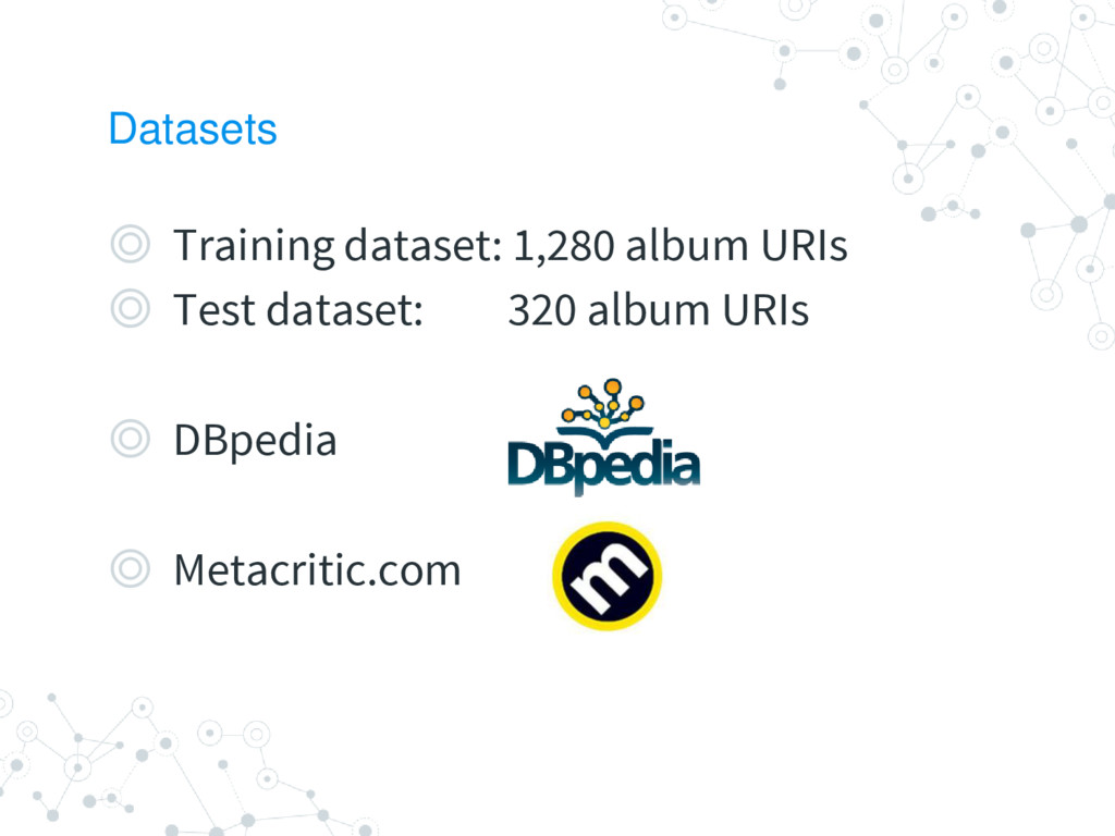 Datasets ◎ Training dataset: 1,280 album URIs ◎...