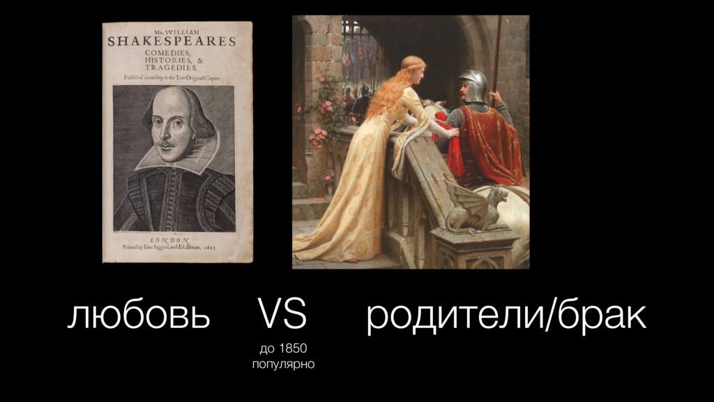 любовь VS родители/брак до 1850 популярно