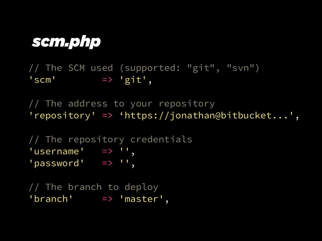 """// The SCM used (supported: """"git"""", """"svn"""") 'scm'..."""