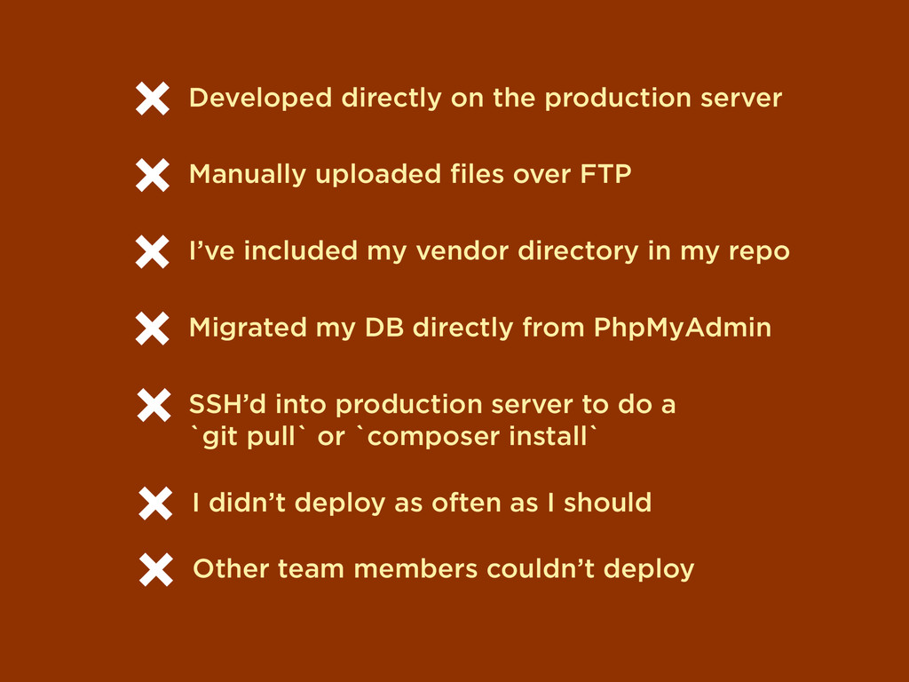 Developed directly on the production server Man...