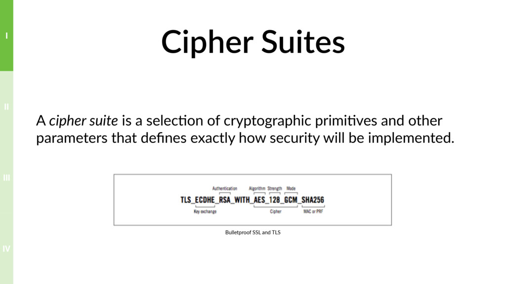 Cipher Suites A cipher suite is a selec?on of c...