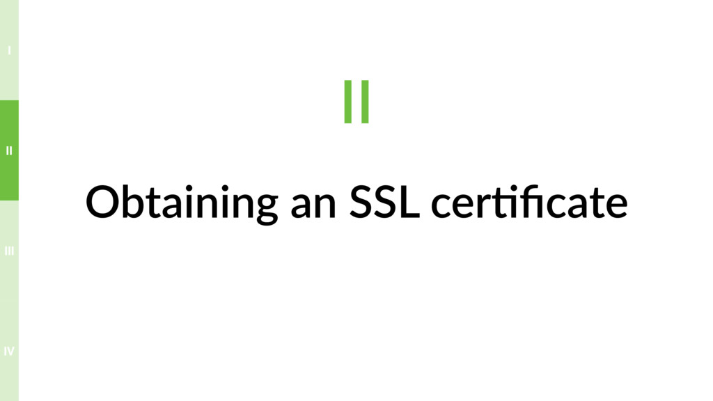 Obtaining an SSL cer>ficate II IV III II I
