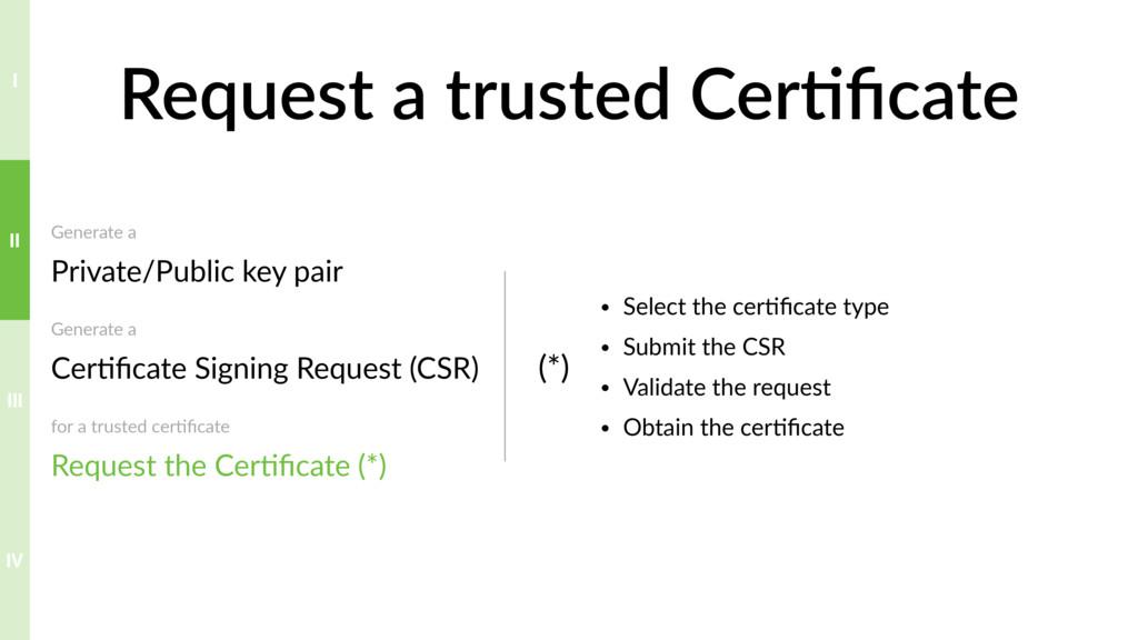 Request a trusted Cer>ficate Generate a Private...