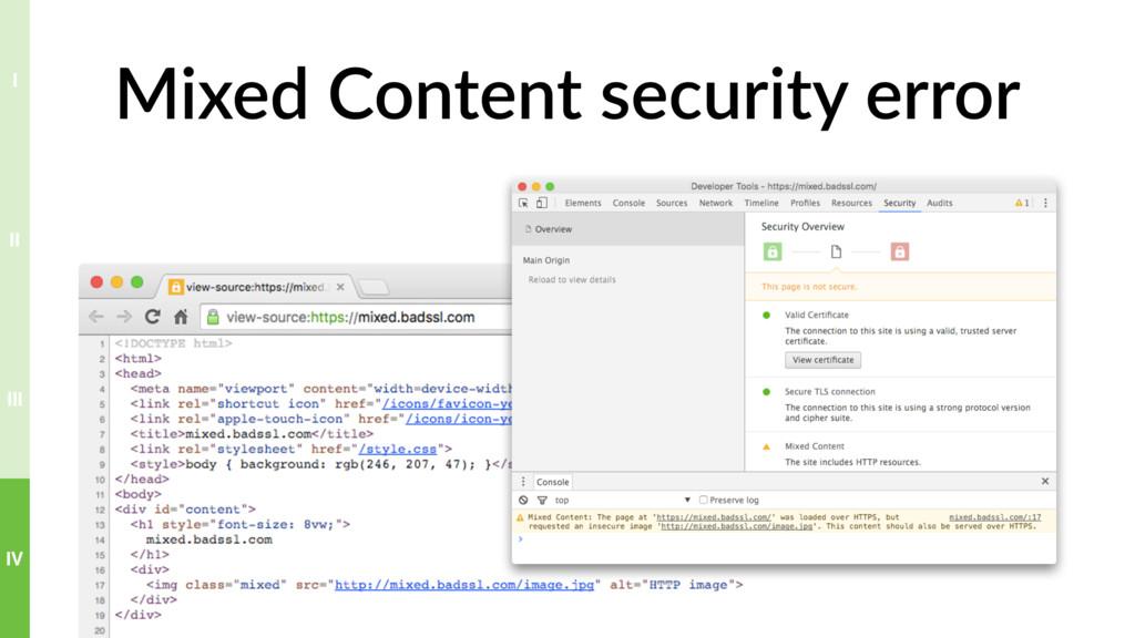 Mixed Content security error IV III II I