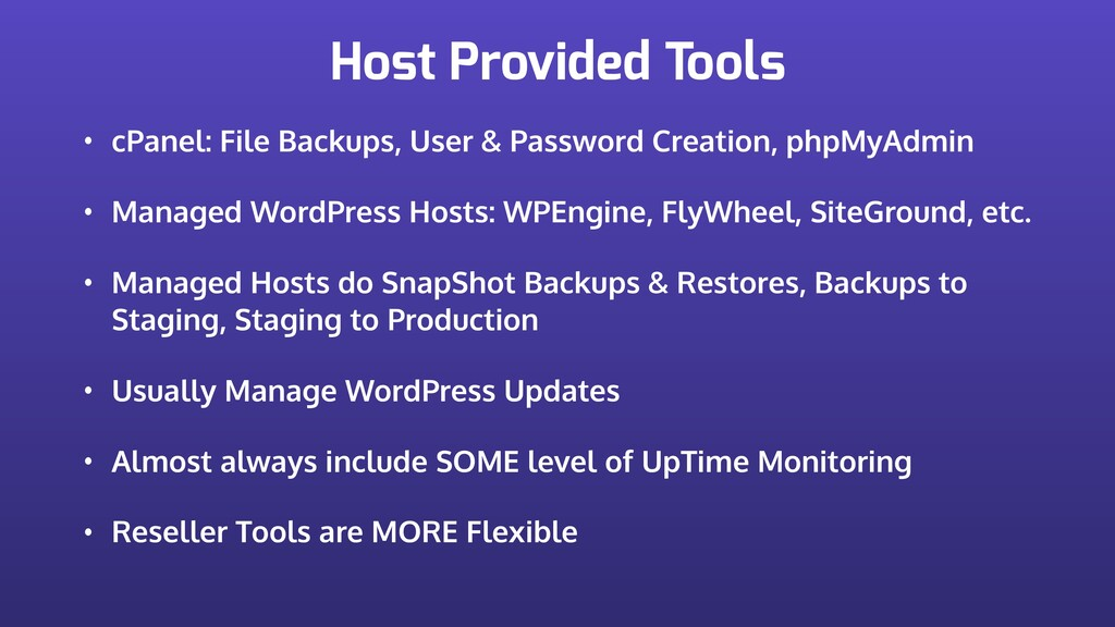 Host Provided Tools • cPanel: File Backups, Use...