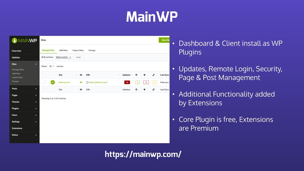 MainWP • Dashboard & Client install as WP Plugi...