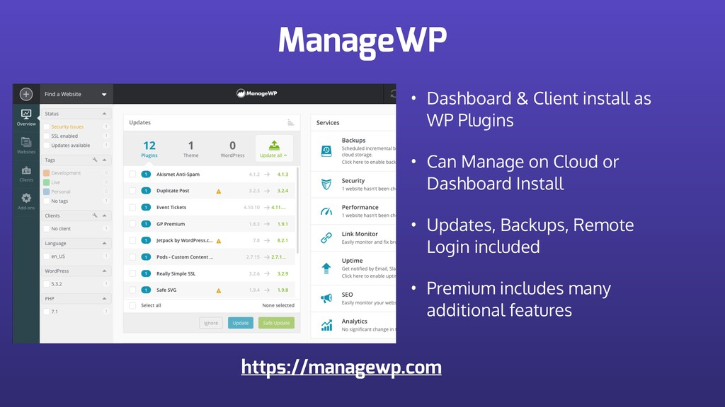 ManageWP • Dashboard & Client install as WP Plu...